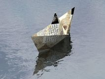 Paper Boat 1. Paper boat floating in water - 3d render Royalty Free Stock Photo