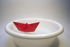 Paper boat. Origami paper boat royalty free stock photo