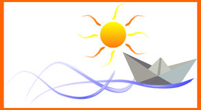 Paper boat. On the waves Royalty Free Stock Photography