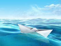 Paper boat. Origami paper boat floating in a sea. Digital illustration Stock Photos
