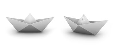 Paper boat. Perspective and front view origami boat Royalty Free Stock Photo
