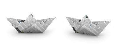 Paper boat. Boat made of newspaper, front and perspective view Royalty Free Stock Images