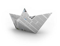 Paper boat. Origami boat made of newspaper paper Royalty Free Stock Images