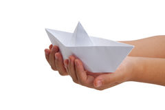 Paper Boat. Old toy, close up royalty free stock image