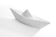 Paper Boat. Old toy, close up stock image