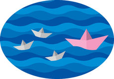 Paper boat. Family paper boat in a pool with waves Royalty Free Stock Photos