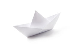 Paper Boat. Japanese paper figure. Paper boat isolated on white stock photo