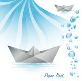 Paper boat. An illustration of a paper ship Stock Images