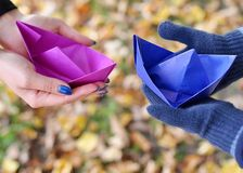 Paper Boat. On the hands Royalty Free Stock Images