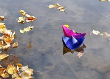 Paper Boat. In the lake Stock Photo