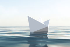 Paper boat. 3d render ocean and boat Royalty Free Stock Images