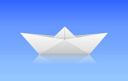 Paper boat. Vector paper boat with reflection on the ground Royalty Free Stock Image