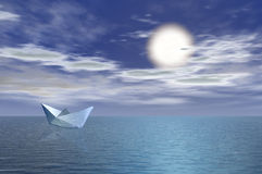 Paper boat. In sea vector illustration