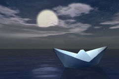 Paper boat. Paper ship Stock Photography