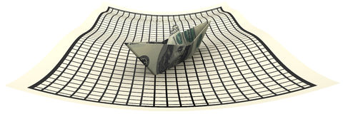Paper boat from an American banknote on a sheet in a cage Royalty Free Stock Images