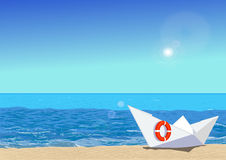 Paper boat on beach, vector illustration Royalty Free Stock Photo