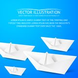 Paper boat on blue background Stock Photos