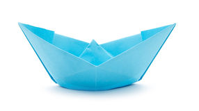 Paper boat. Blue paper boat isolated on white background royalty free stock image