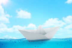 Paper boat challenge background Stock Image