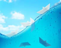 Paper boat challenge background Royalty Free Stock Photography