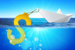 Paper boat with dollar sign Stock Image