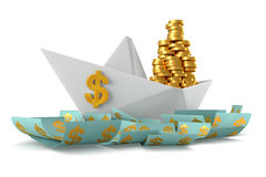 Paper boat dollars Stock Image