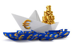 Paper boat euro Stock Photography