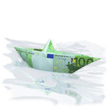 Paper boat with 100 Euro Stock Images
