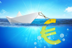 Paper boat with euro sign Royalty Free Stock Images