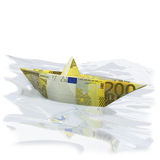 Paper boat with 200 Euros. And financial risks Stock Photo