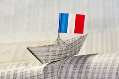 Paper boat with flag of France Royalty Free Stock Photos