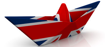 Paper boat from the flag of Great Britain. On white surface. Isolated. 3D Illustration Stock Images