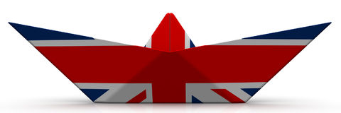 Paper boat from the flag of Great Britain. On white surface. Isolated. 3D Illustration Stock Photos