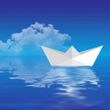 Paper Boat Floating Royalty Free Stock Images