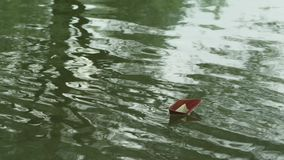 A paper boat floating. On the river stock footage