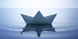 Paper boat in calm water - 3D illustration stock illustration