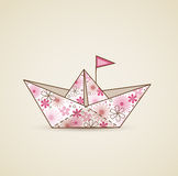 Paper boat and flowers Stock Images