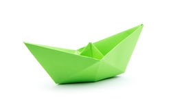 Paper boat. Green paper boat isolated on white background stock image