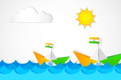 Paper Boat in Indian Flag color Royalty Free Stock Images