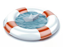 Paper boat in lifebuoy Stock Photo