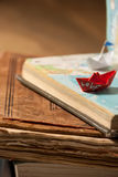 Paper boat and love. Stock Photos