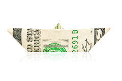 Paper boat made with an american dollar Royalty Free Stock Photo