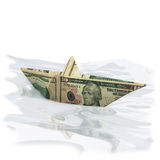 Paper boat made off a 10 dollar bill Stock Photography