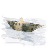 Paper boat made of 10 rubles Stock Photos