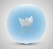 Paper boat in a magic sphere Royalty Free Stock Photo