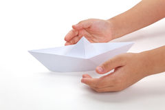 Paper Boat. Old toy, close up royalty free stock images