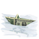 Paper boat with one Dollar Stock Photo