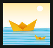 Paper Boat Origami Stock Photo