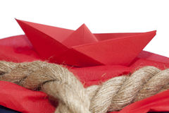 Paper boat. Origami paper boat. Red colour royalty free stock photos