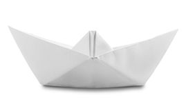 Paper Boat. Origami White Paper Boat Isolated on White Background. Clipping Path royalty free stock images